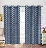 Cheap Contemporary Moroccan Trellis Design Classy Top Grommet Two Panel Window Curtain Navy Ornament Pattern 108″Wx94″L