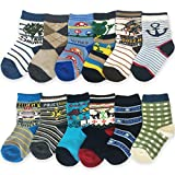 Yanoir Boy's Ankle Socks Assorted Designs Crew 12 Pack