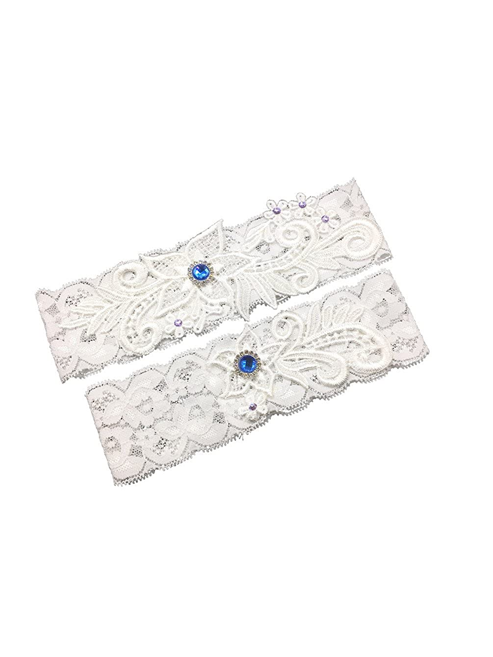 Unibuy Wedding Lace Garter Set With Blink Rhinestone Add Navy Blue Pearl(Pretty Box something Blue)