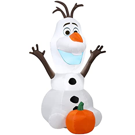gemmy airblown inflatable disneys olaf with pumpkin thanksgiving halloween yard decoration props 35 foot