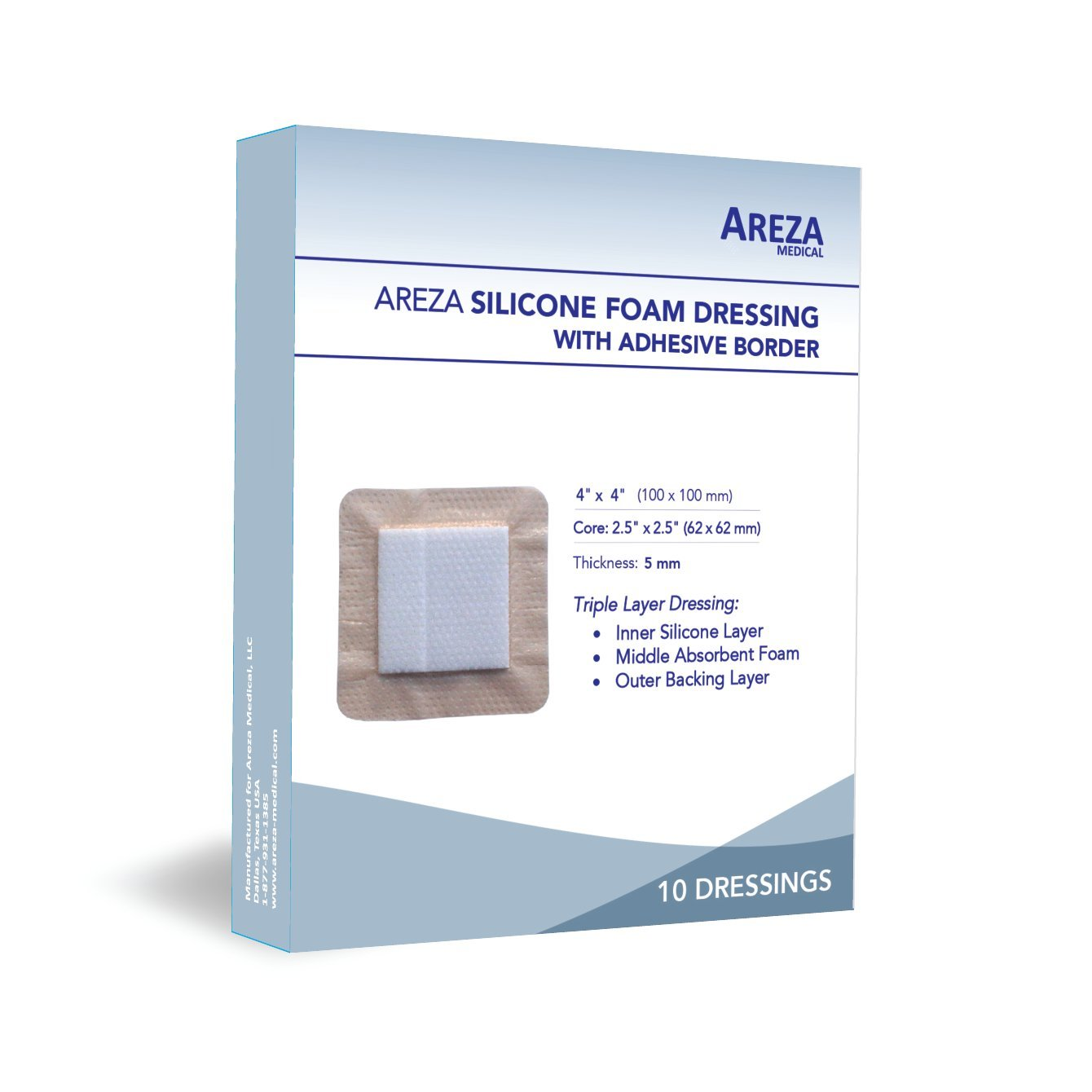 Silicone Foam Dressing with Border (Adhesive) Waterproof 4'' X 4'' (10 cm X 10 cm) (Central Ultra Absorbent-Foam 2.5'' X 2.5'') 10 Per Box (1) Wound Dressing by Areza Medical by Areza Medical