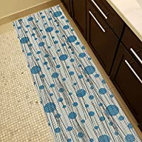 Soft Foam Runner Mat BLUE POLKA DOTS Kitchen Bathroom Pool Boat Hallway | 26-inch x 6-feet (2x6)