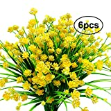 Jomass Artificial Flowers,Fake Plastic Plants,Fake Flowers Faux Silk Flowers Bouquet,UV Resistant Greenery Bushes Fence for Home,Garden,Wedding Party,Festival (Yellow,green)