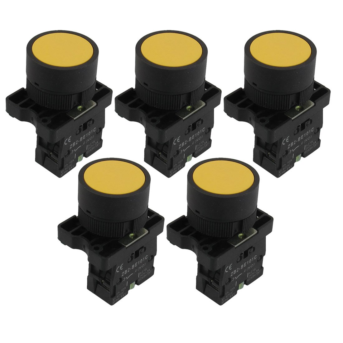 uxcell 5pcs 1 NO N/O Sign Momentary Push Button Switch, 22 mm, 600V, 10A, ZB2-EA51, Yellow