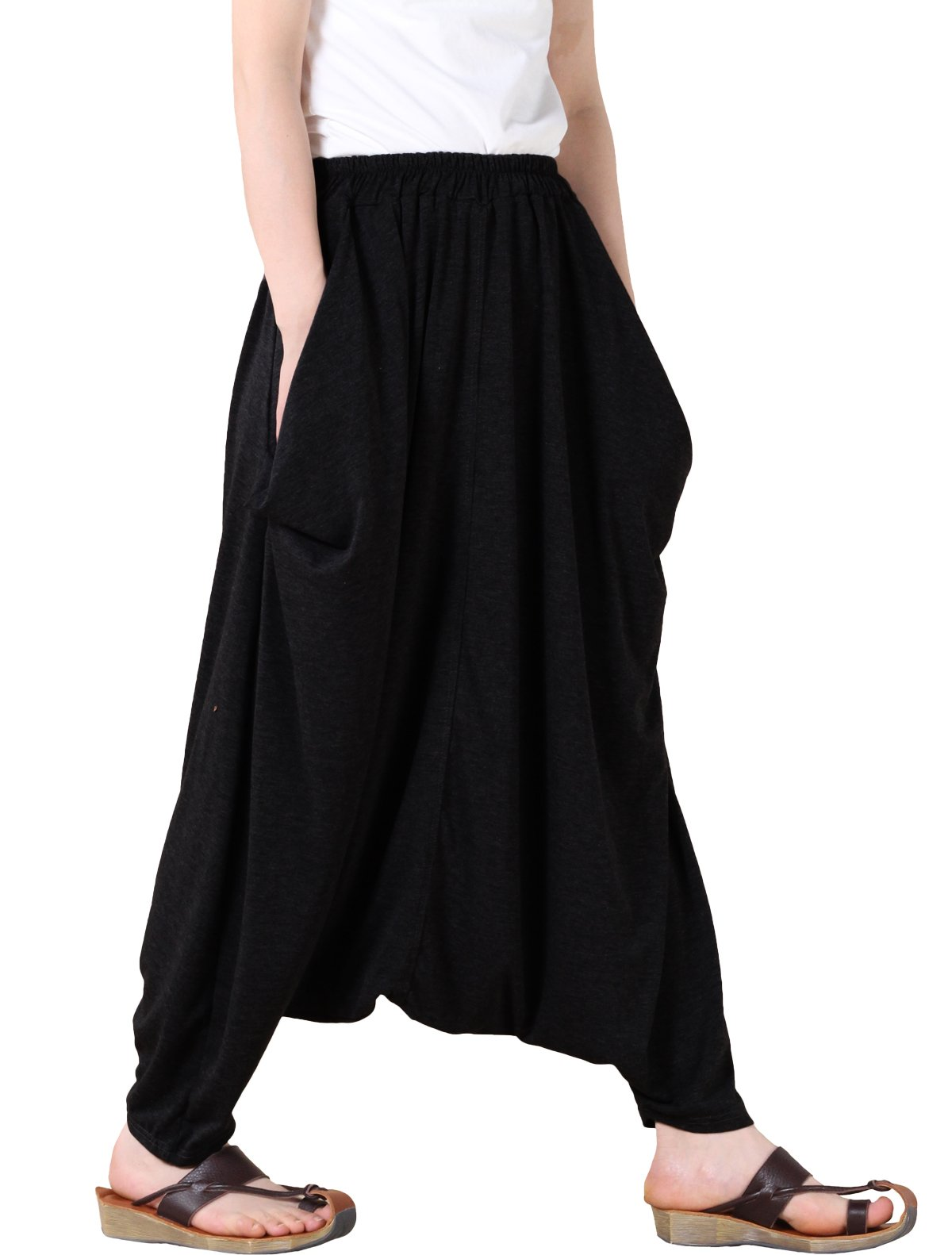 Mordenmiss Women's Casual Drop Crotch Harem Pants (Style 1-black) One Size