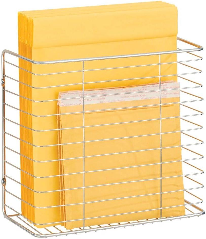 mDesign Organizador de bolsas de la compra para puertas de armarios – Cesta metálica de pared para almacenar bolsas – Organizador colgante para bolsas en alambre de metal – plateado