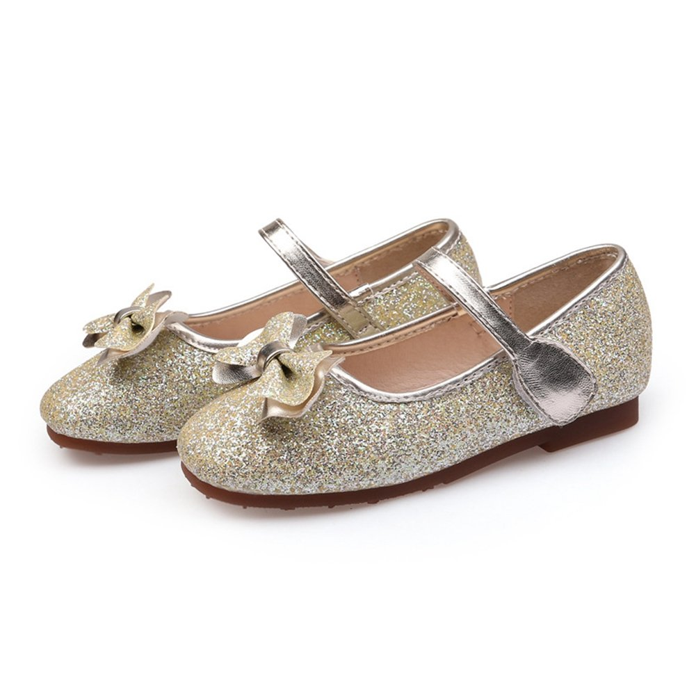 F-OXMY Summer Bow Princess Dress Flat Glitter Mary Jane Ballet Ballerina Shoes for Toddler Little Girls Gold