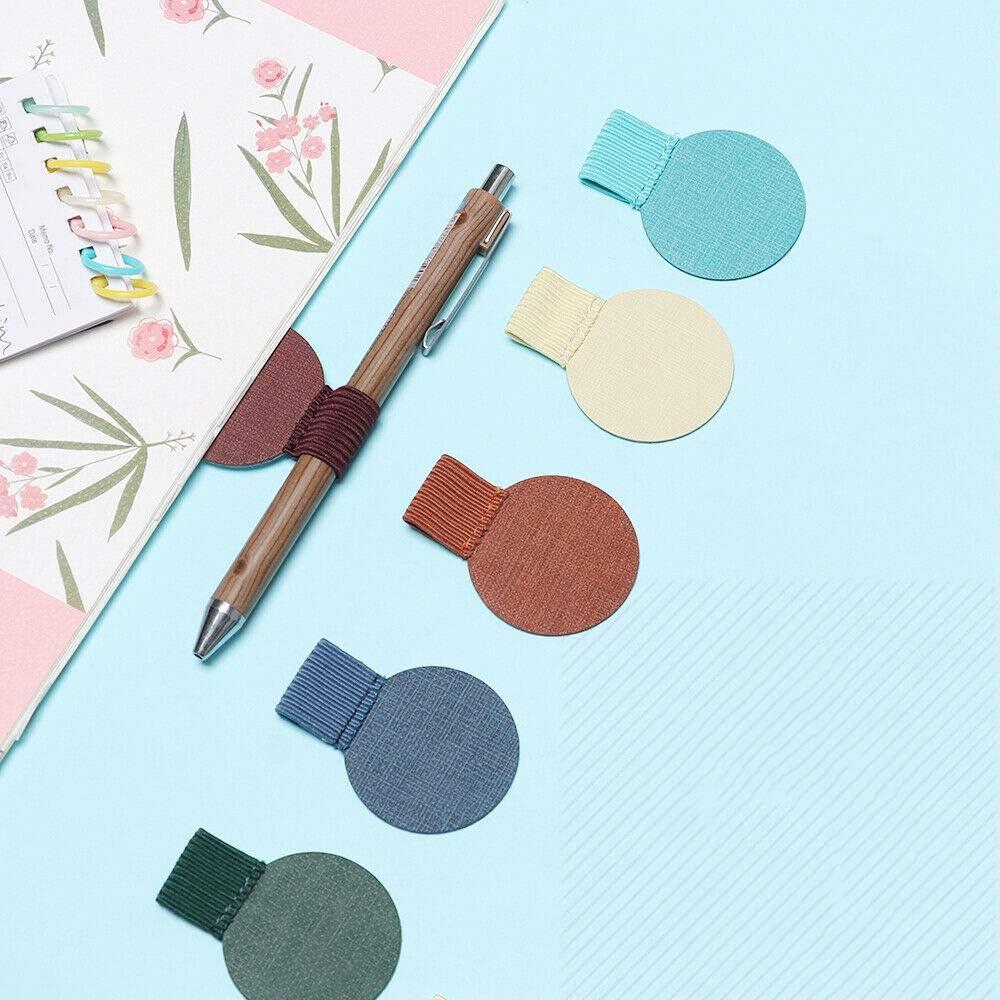 SENRISE 12PCS matita elastico loop porta penna forma rotonda beige cuoio autoadesivo penna clip per taccuino agenda verde appunti calendari