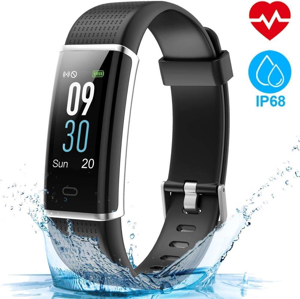HOMSCAM Pulsera Actividad, Pulsera Inteligente Pantalla Color Reloj Impermeable IP68 con Monitor de Ritmo Cardíaco, Captura de cámara, Notificación de Mensajes etc para Android y iOS Teléfono móvil