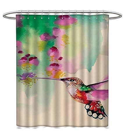 Hummingbird Shower Curtains Waterproof Art Colibri Bird Flowers Romantic Springtime Tropics Nature Theme Bathroom Set Hooks