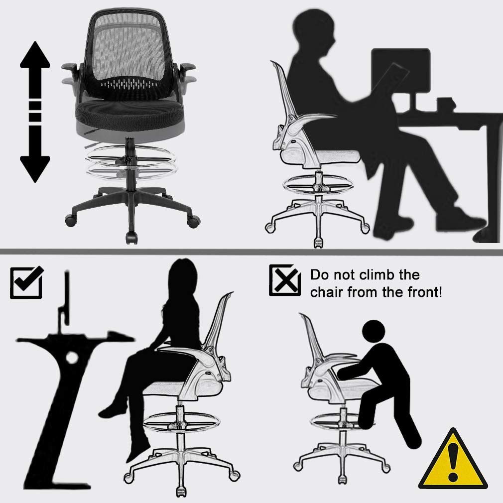 Drafting Chair Tall Office Chair Desk Chair Mesh Computer Chair Adjustable Height with Lumbar Support Flip Up Arms Swivel Rolling Executive Chair for Standing Desk by BestOffice (Image #4)
