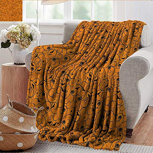 Xaviera Doherty Beach Blanket Halloween,Swirls Bats and Pumpkins Microfiber All Season Blanket for Bed or Couch Multicolor 50