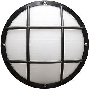 Sunlite 48212-SU DOD/EG/BK/FR/GU24 Decorative Outdoor Energy Saving Eurostyle Grid Polycarbonate Fixture, Black Finish, Frosted Lens