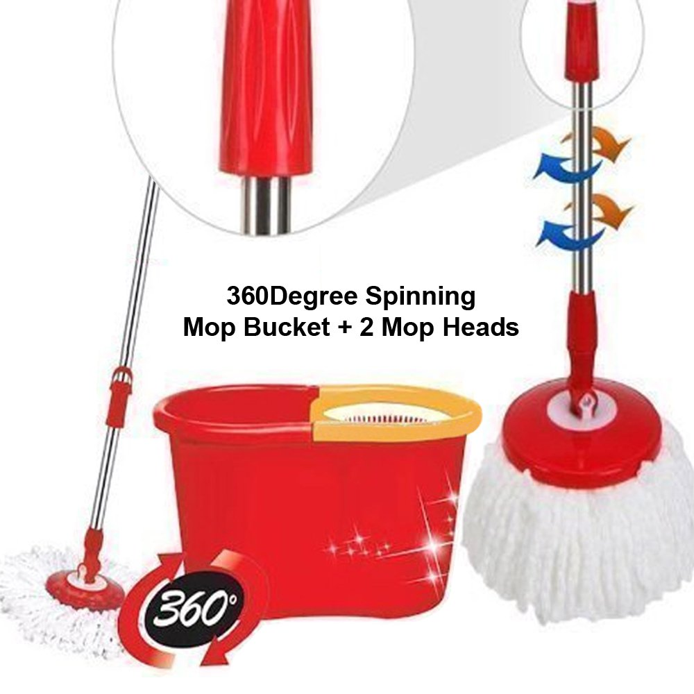Denny International 360 Degree Spinning Mop Bucket Home Cleaner With Two Mop Heads Denny International®