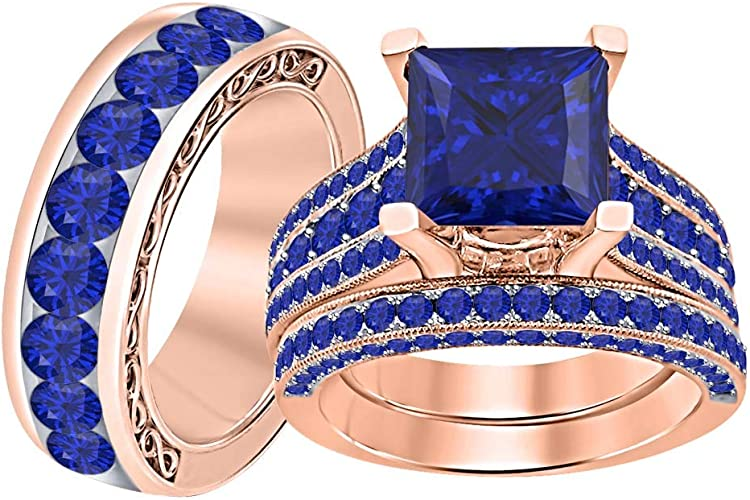 Gorgeous Princess Cut Sapphire Ring Yellow Gold Women Wedding Party Jewelry Gift