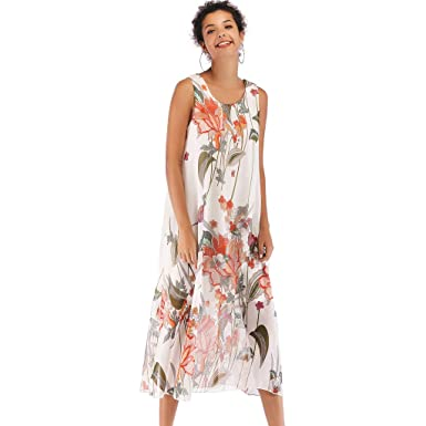 0c0fcc891b Womens Summer Dress Casual Boho Floral Print Beach Style Chiffon Swing  Sundress (White, M