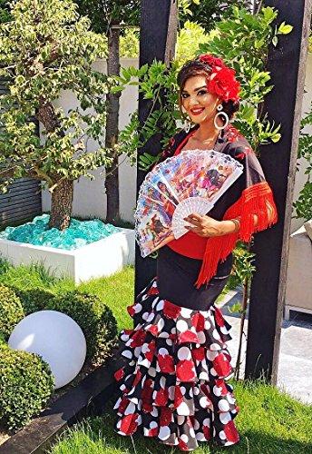 volani Flamenco e rose con Lusso Donna Se orita Gonna Danza nero La wCq8pSHn