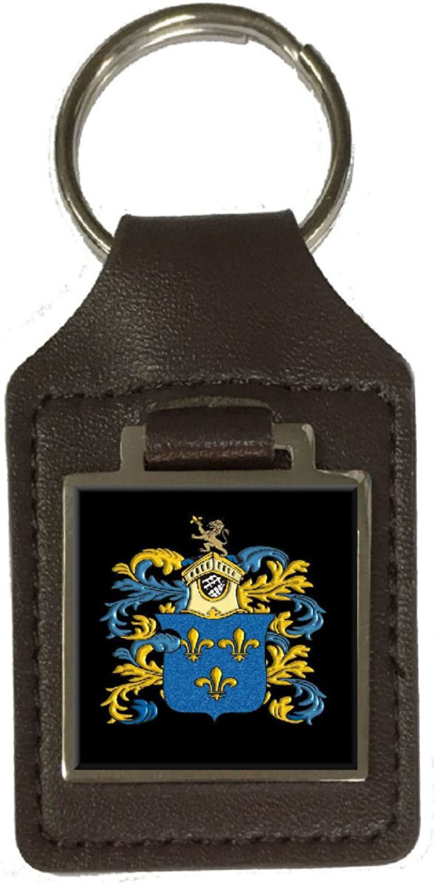 Brown Heraldry Surname Coat Of Arms Brown Leather Keyring Engraved