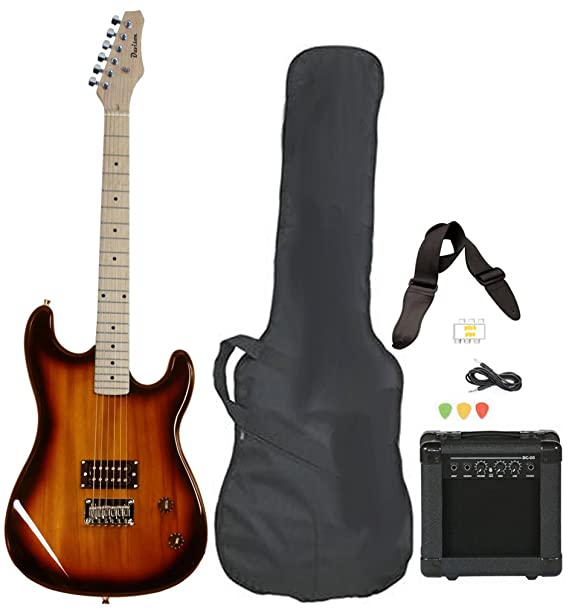 Full Size Electric Guitar with Amp, Case and Accessories Pack Beginner Starter Package Vintage Sunburst