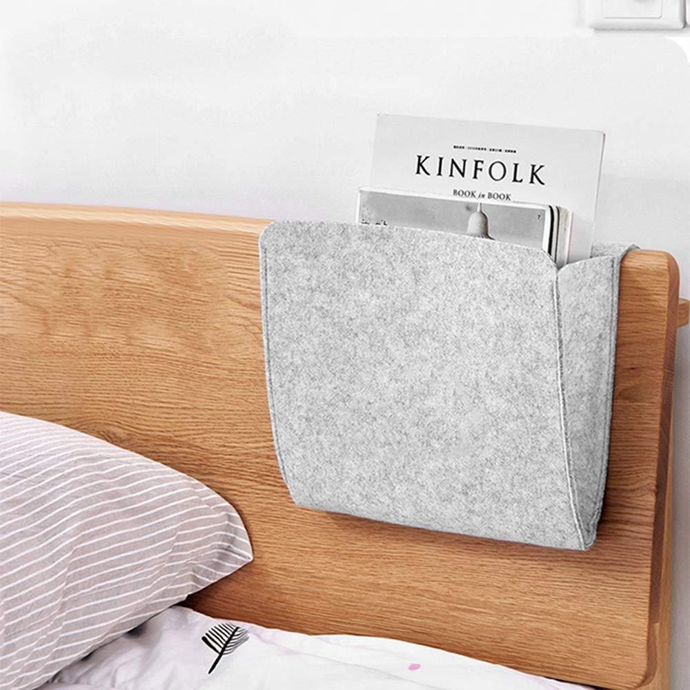 Langlebig wiederverwenden Filz-Aufbewahrungskorb f/ür das Bett h/ängende Tasche in den Taschen f/ür die Organisation von kleinen Dingen des TV-Fernbedienungs-Laptop-Buch-Zeitungstelefons f/ür das Hausver