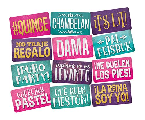 Quinceanera Photo Booth Props in Spanish Perfect for Sweet 15, Mis Quince Anos birthday parties, 6pc Double sided.