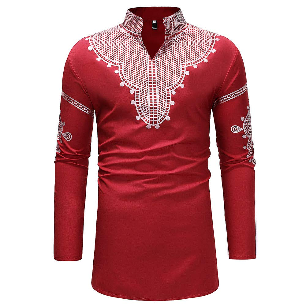 MODOQO Men's Long Sleeve African Shirt Button Down Tops for Autumn Winter MODOQO-Mens tops-0904