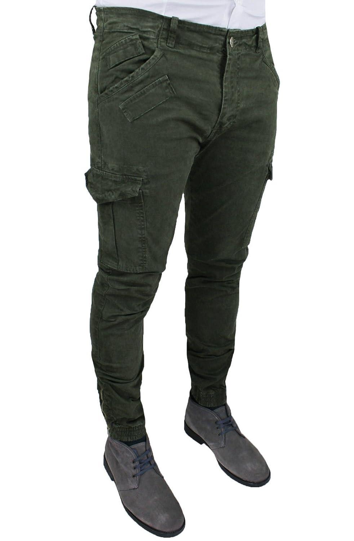 Favorito Pantaloni jeans uomo verde militare cargo slim fit casual con  LM06