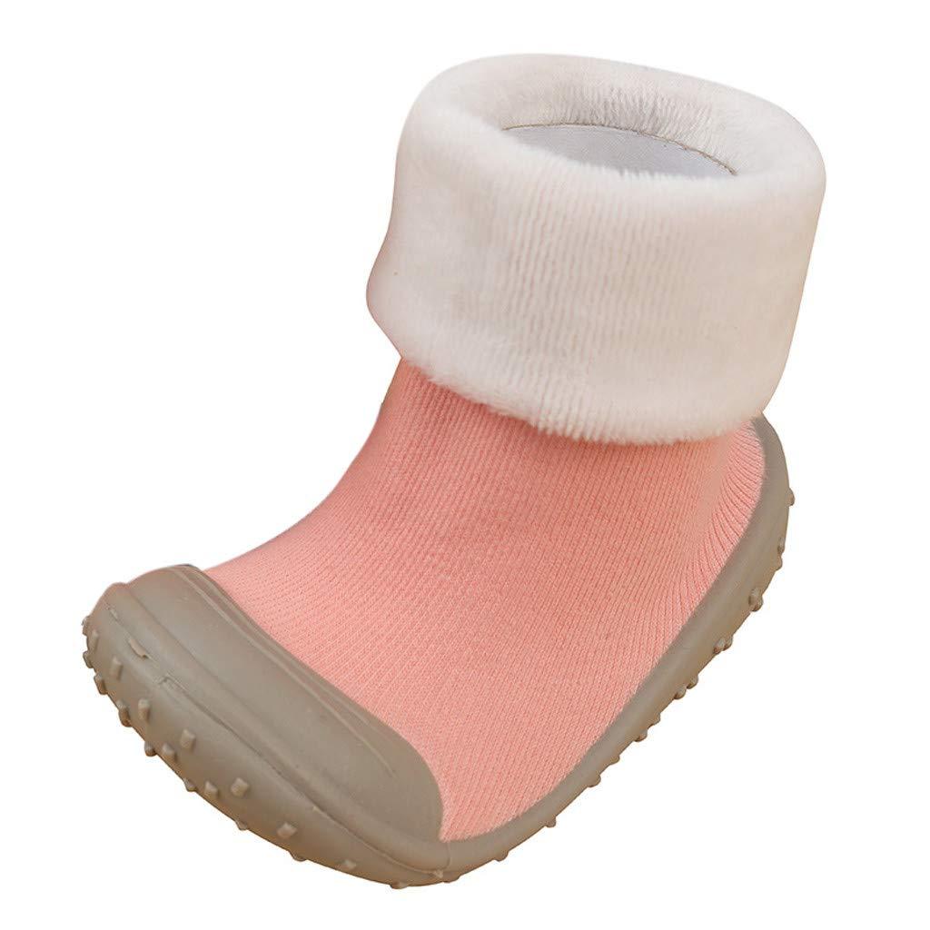 NUWFOR Baby Infant Toddler Girls Boys Solid Winter Warm Prewalker Socks Shoes(Pink,2-2.5Years)