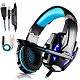 FUNINGEEK Auriculares Gaming PS4,Cascos Gaming de Mac Estéreo con Micrófono Cascos Gaming 3.5mm Jack con Luz LED Bass…