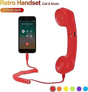 Feeko Cell Phone Receiver Retro Handset Vintage 3.5mm Telephone Anti Radiation Handset Receiver for iPhone Smartphones Red