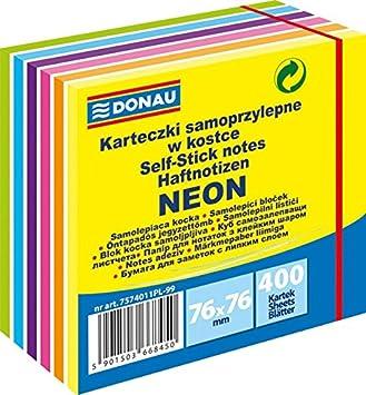 kart over donau Kostka samoprzylepna DONAU, 76x76mm, 1x400 kart., mix kolor�w  kart over donau