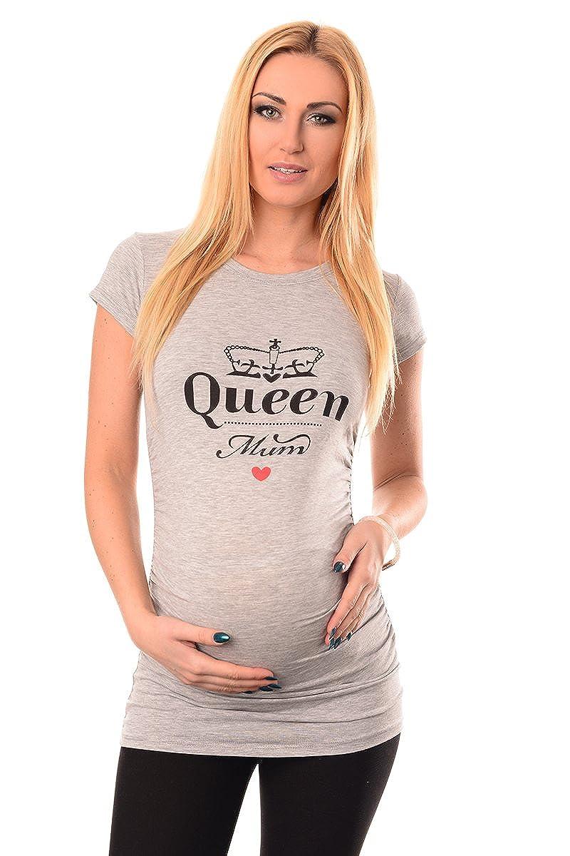 Purpless Maternity Queen Mum - Slogan Gedruckt Baumwolle Schwangerschaft Top T-Shirt 2009