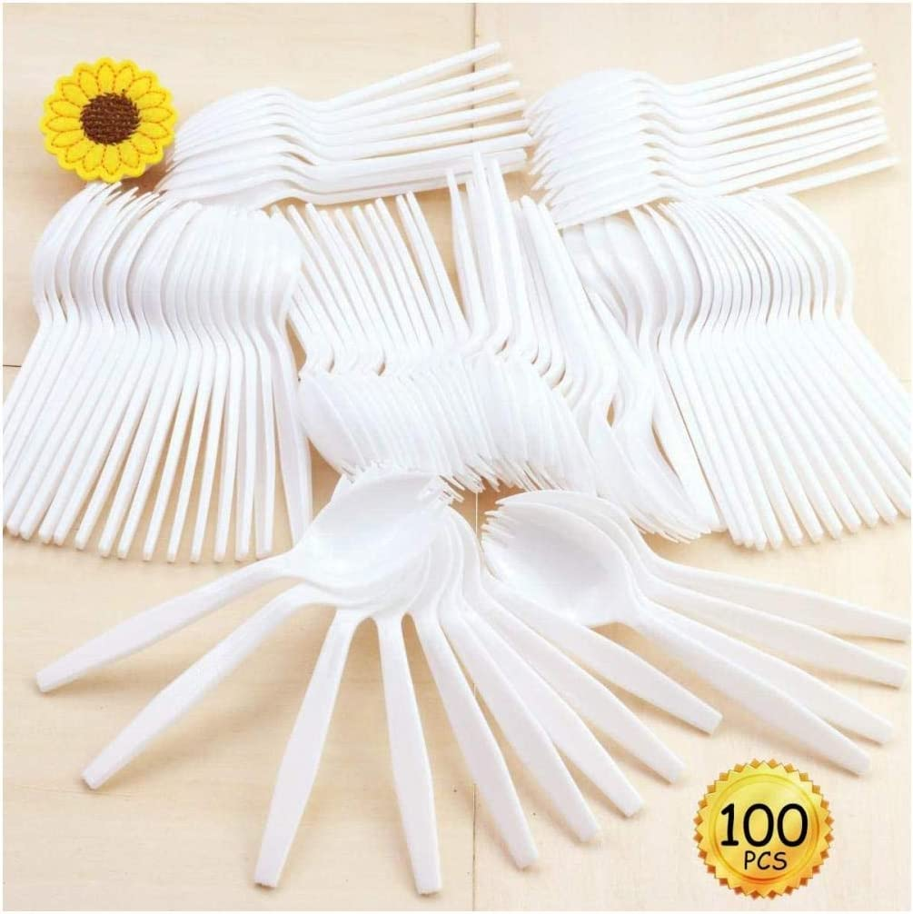 MotBach Disposable Sporks 100 PCS,Eco-Friendly,Biodegradable and Kid-Safe Tableware,White Plastic Forks,Fantastic for School Lunch,Restaurant,Party or Picnics