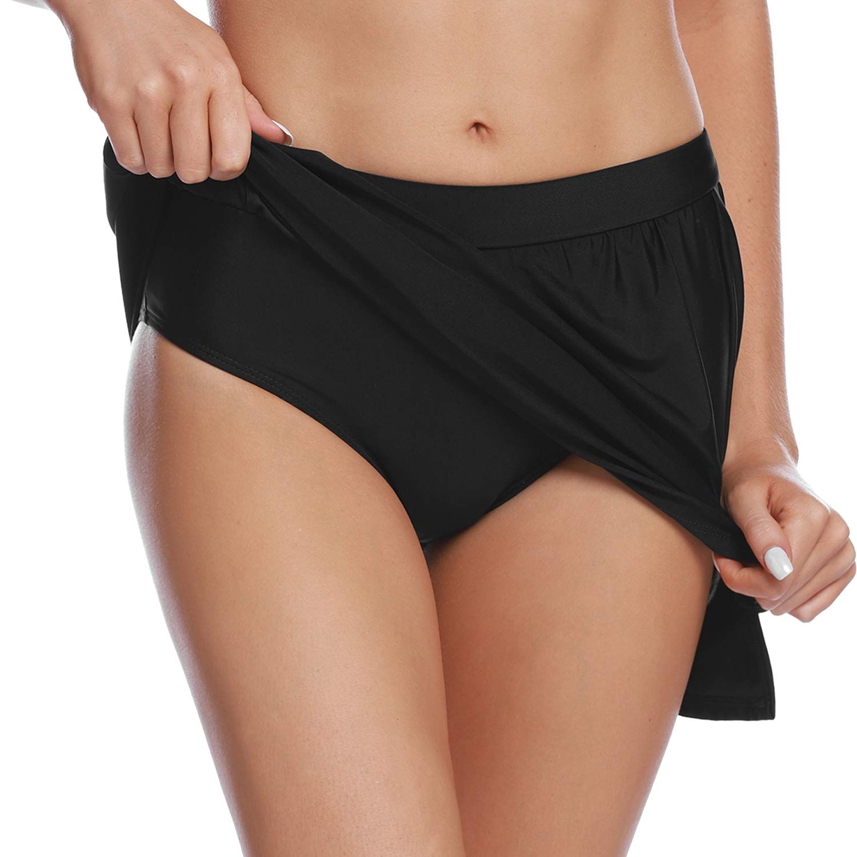 Abollria Womens Swim Skirt Bikini Tankini Bottom Solid Swimdress Skirt Beachwear with Brief