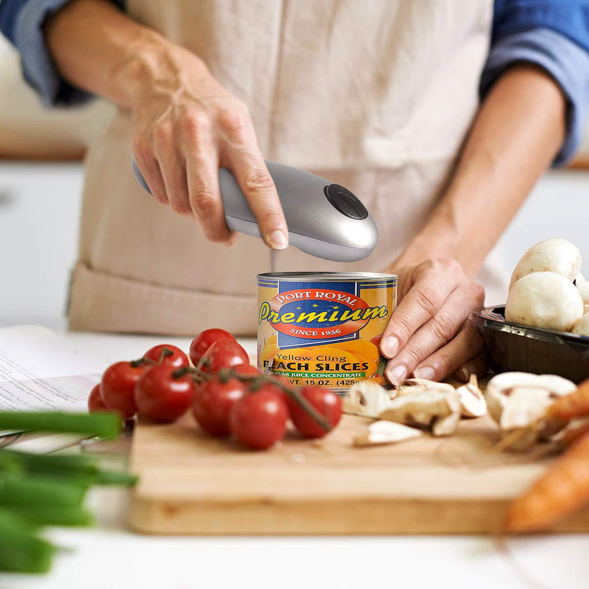 Electric Can Opener, Smooth Edge Automatic Can Opener for Any Size, Best Kitchen Gadget for Arthritis and Seniors (GrayClassic1) by instecho (Image #7)