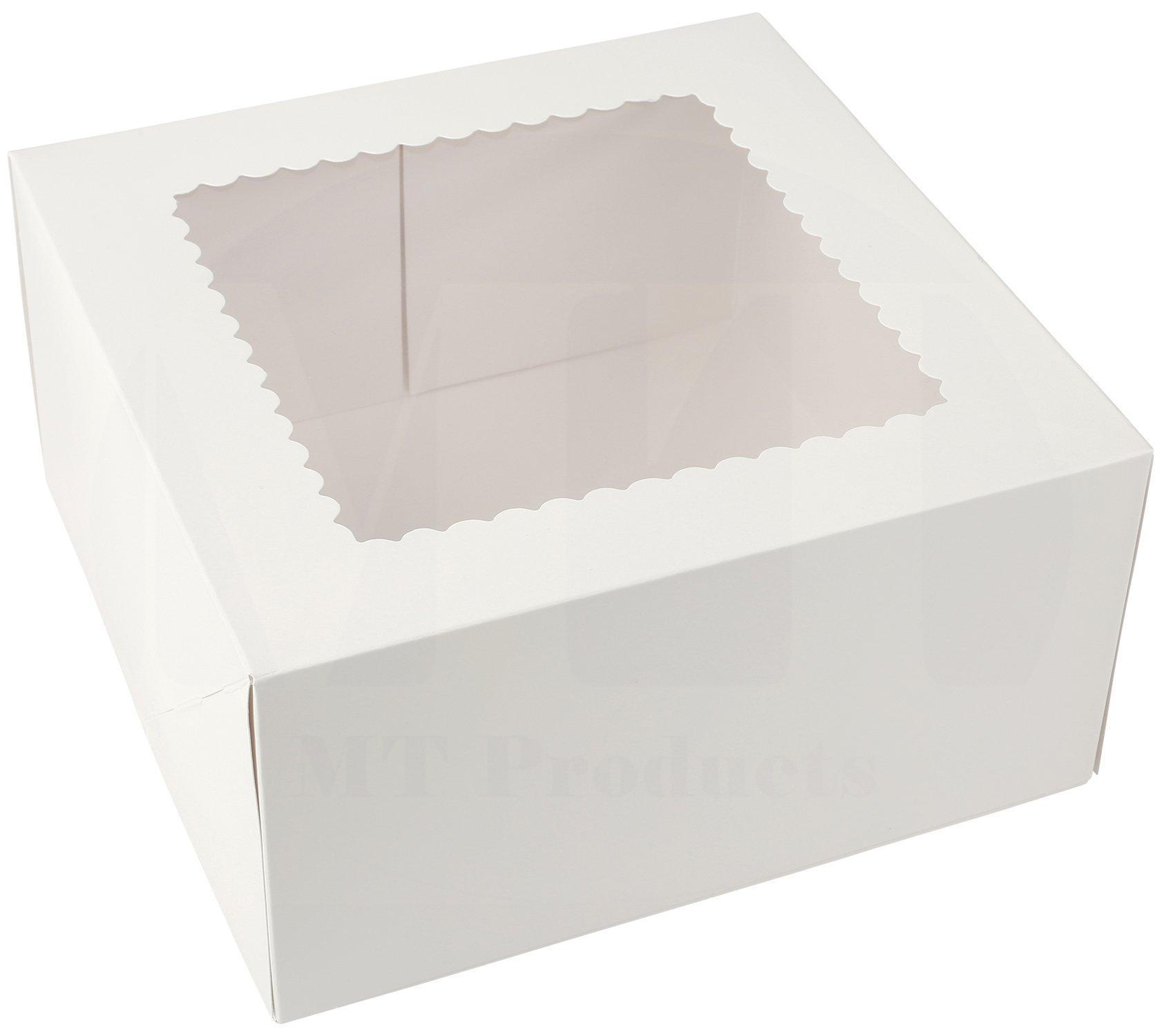 10'' Length x 10'' Width x 5'' Height White Kraft Paperboard Auto-Popup Window Pie/Cake Bakery Box by MT Products (Pack of 15) by MT Products