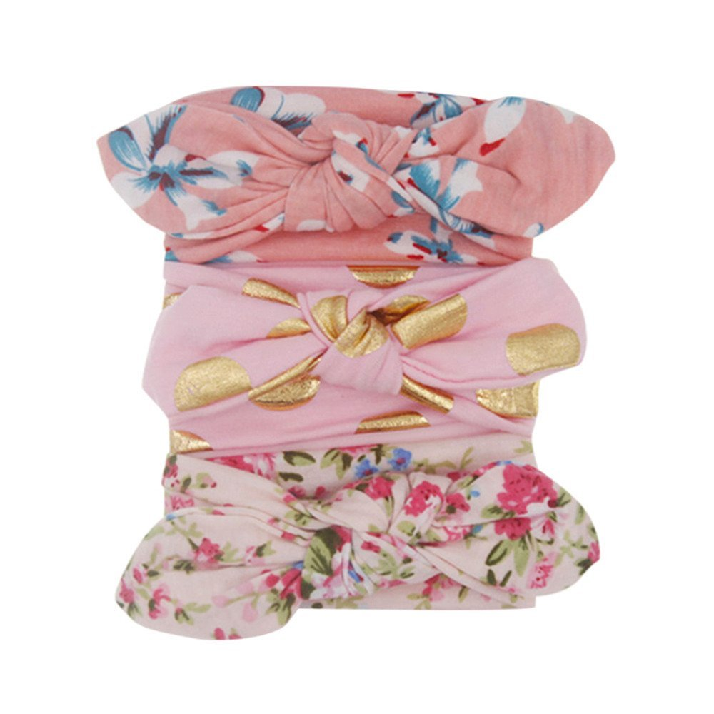 3Pcs Baby Girls Bunny Ear Bowknot Headband Sets Floral Printed Turban Knot Head Wraps Photography Accessories Newborn Baby Hairband Kit