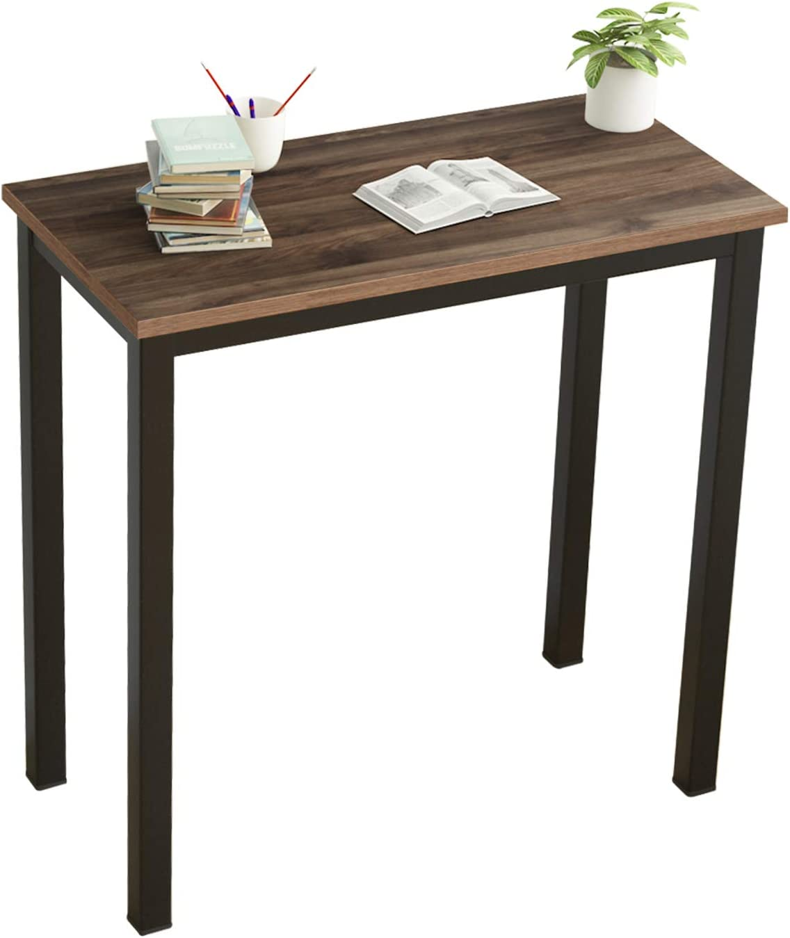DlandHome 31.5 Inches Small Computer Desk for Home Office Folding Table Writing Table for Small Spaces Study Table Laptop Desk Black (Walnut)