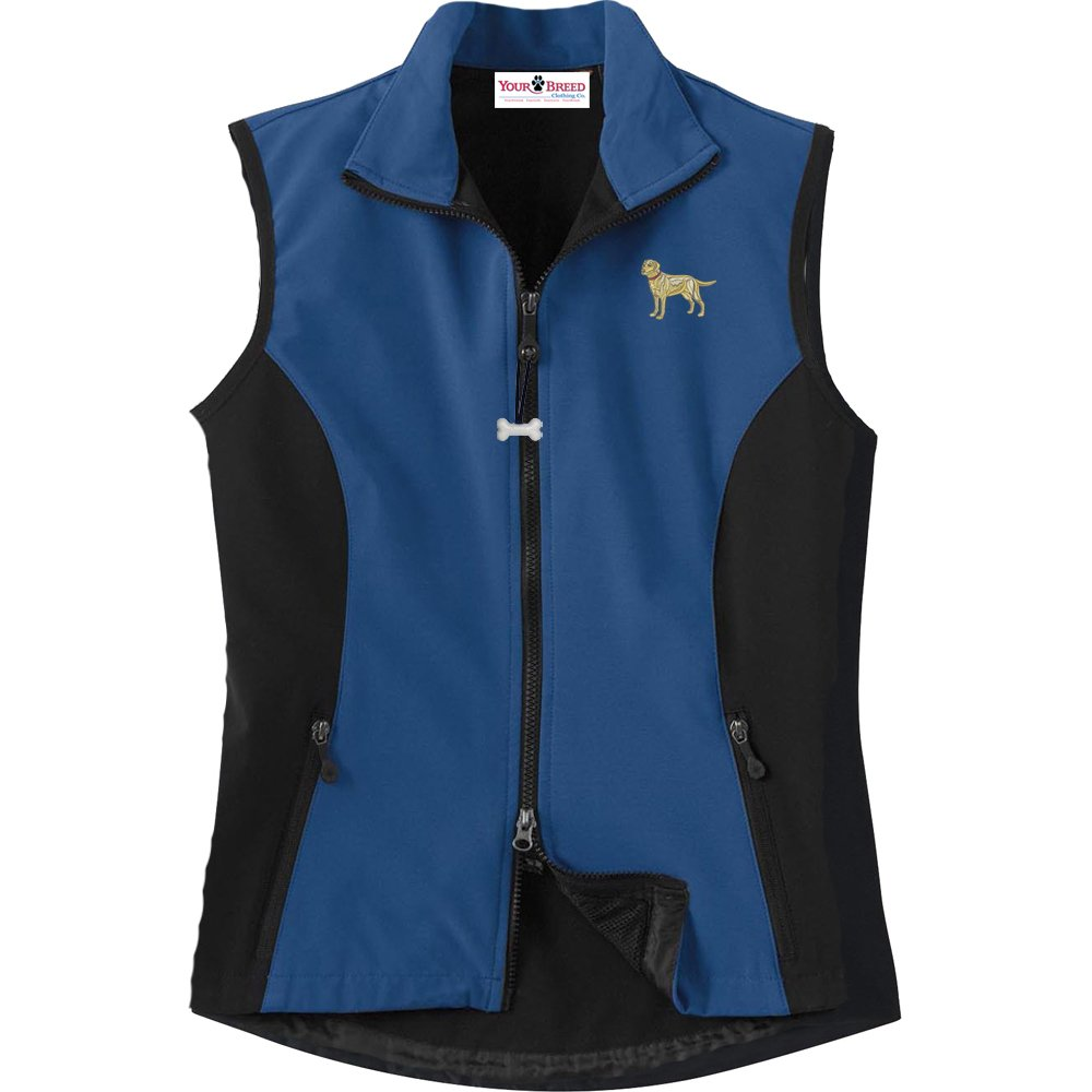 Labrador Yellow Ladies High Tec Vest Bone Zipper Pull and Embroidered image