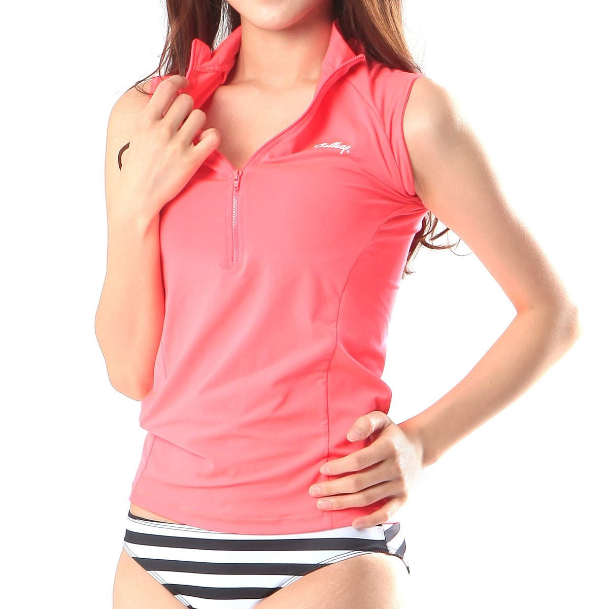 New M0204 Pink Beach Rash Guard Women Zip up Sleeveless Top Swimwear Yoga Fitness Gym (US S - Tag size M)
