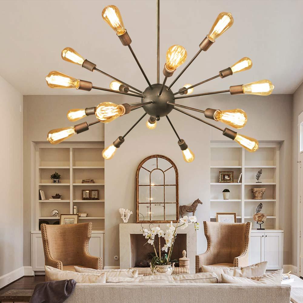 NEUTYPE Antique Design 18-Lights Sputnik Chandelier - Oil Rubbed Bronze Finish, Retro Pendant Chandeliers