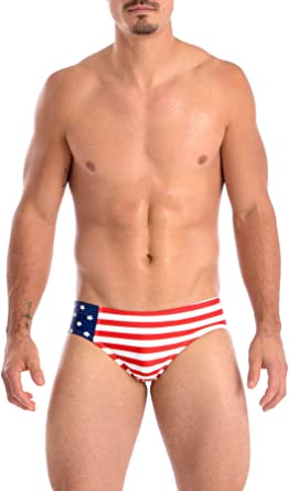 Gary Majdell Sport Mens USA American Flag Stars Hot Body Boxer Swimsuit