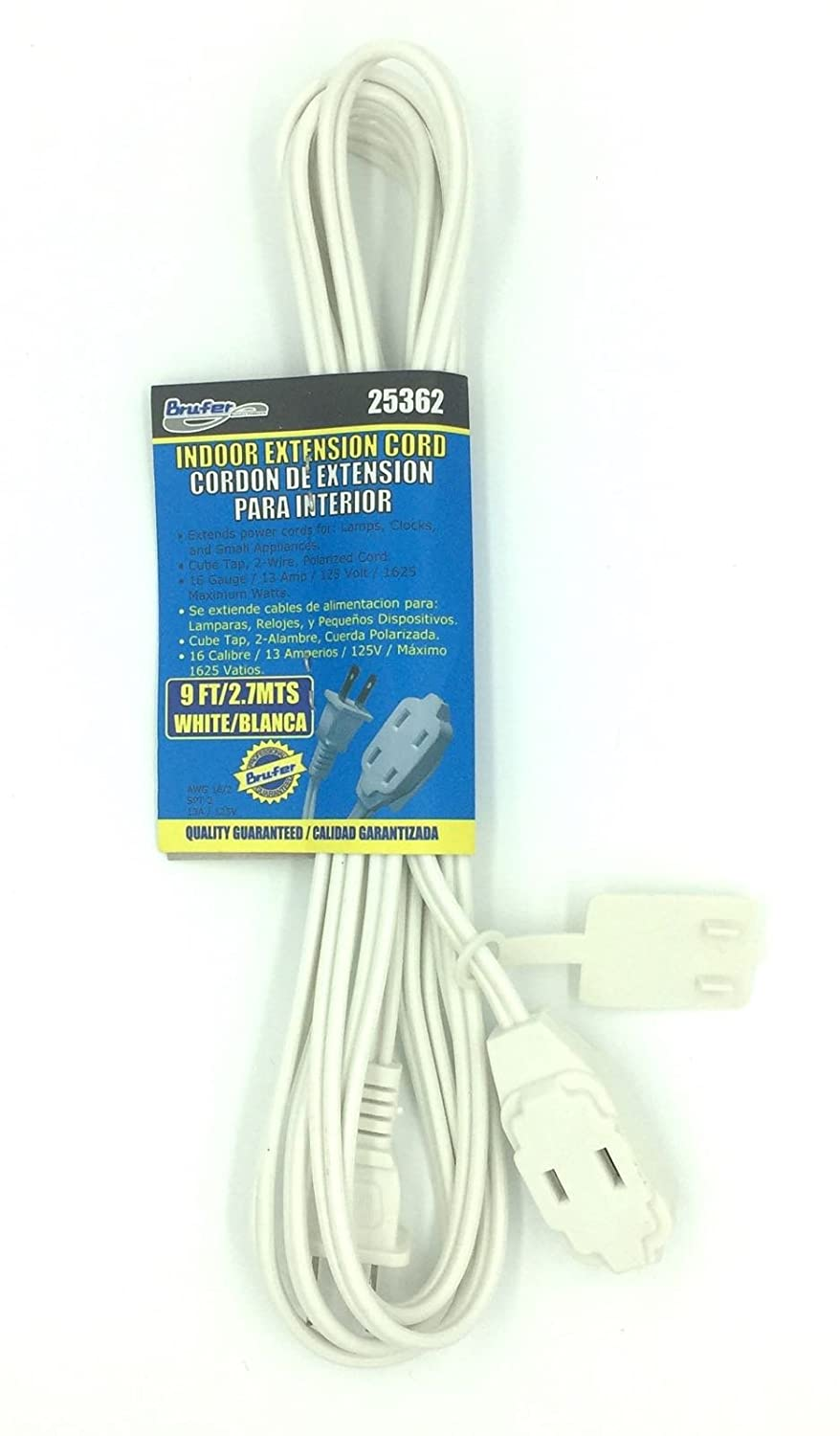 BRUFER 25362 3-Pack 16 AWG 3-Outlet White Indoor Extension Cord - 9 Feet - - Amazon.com