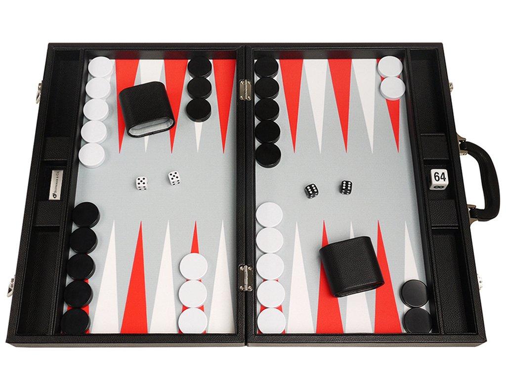 48 x 64 cm Premium-Backgammon-Set - Schwarzes Brett mit weißen und scharlachroten Punkten