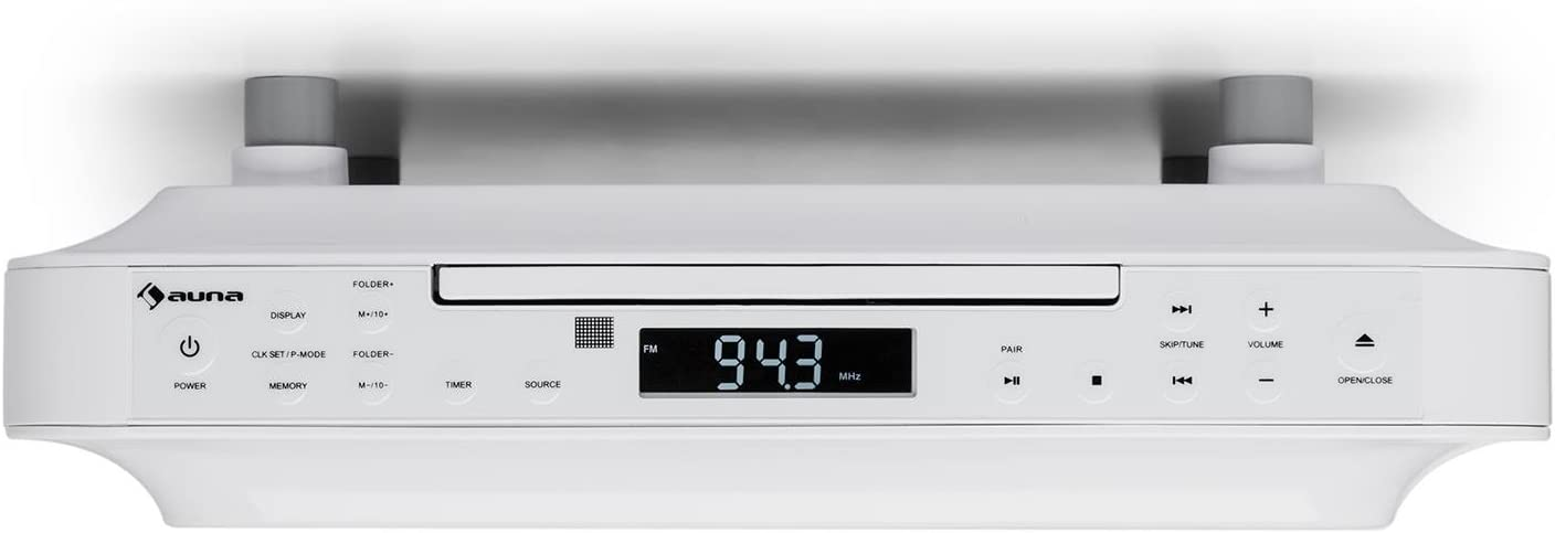 auna KRCD-100 Kitchen Under Cabinet Radio CD-Player MP3 Radio Tuner Port makes Wireless Hearing Possible Suitable Short Time Alarm Kitchen Baking Timer LCD Display White