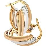 Citerna Women's 9 ct Yellow and White Gold Triple Wave Split Oval Hoop Earrings RUzCZFV