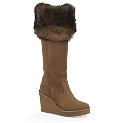 519595cc1ba UGG Womens Valberg Suede Wedge Knee-High Boots