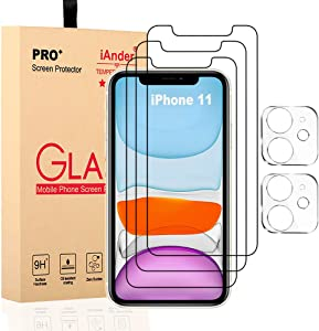 """[5 Pack ] iAnder 3 Pack Glass Screen Protector Compatible with iPhone 11 (6.1"""") + 2 Pack Camera Lens Protector Tempered Glass Screen Protector for iPhone 11, HD Clear Anti-Scratch Bubble Free Case Friendly"""