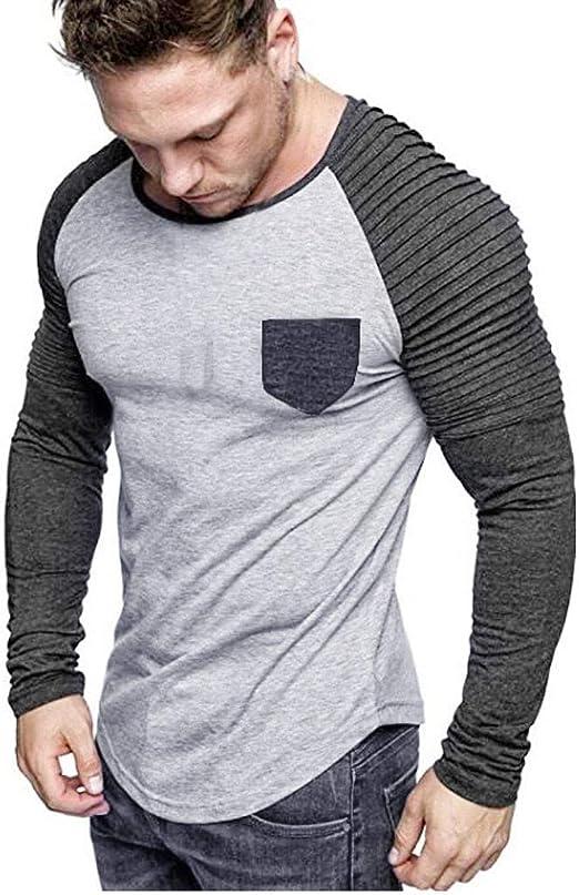 ღLILICATღ Camisa de Vestir para Hombre Camisa de Empalme de Cuello Redondo de Manga Larga Camisa Casual Suelto Bolsillo Tops: Amazon.es: Jardín