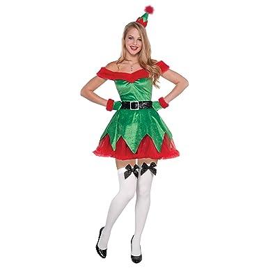Ladies Santas Helper Christmas Elf Fancy Dress Costume Hat Gloves /& Hold ups